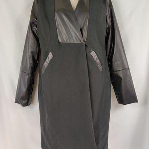 NWT Jeykay long blazer faux leather trim long